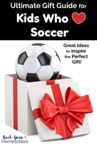 Soccer ball in open white box with red bow