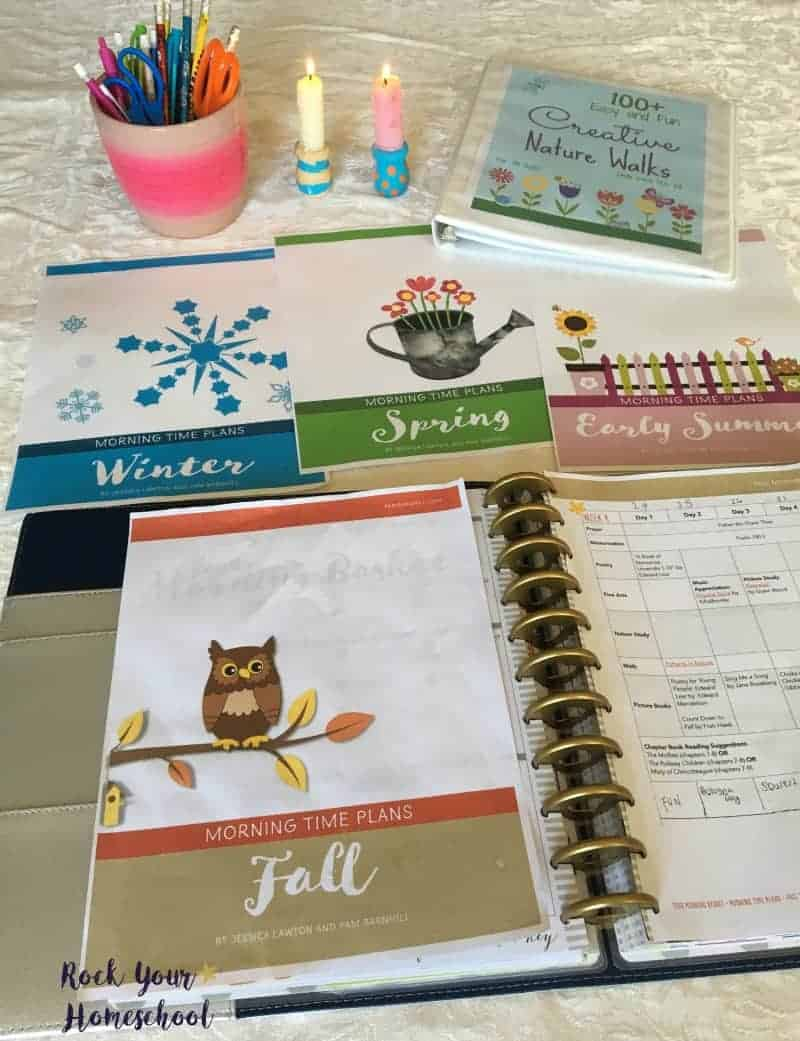 These homeschool morning time plans work great in a Big Happy Planner or 3-ring binder.