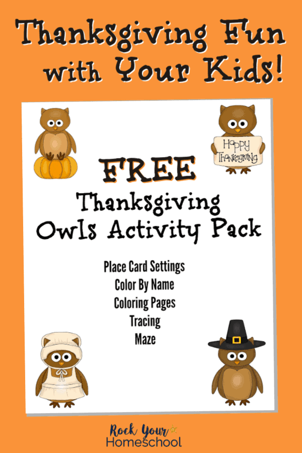 Cover of free printable Thanksgiving Owls activity pack on orange background