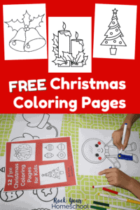 Free Christmas coloring pages on red background and boy coloring gingerbread man coloring page using marker on light green tablecloth