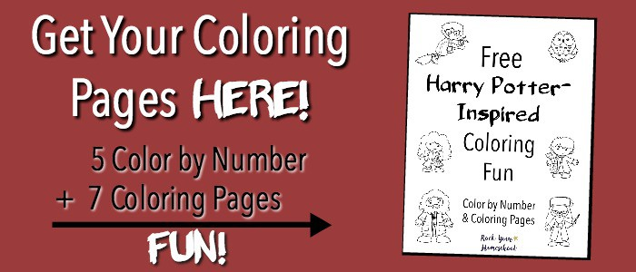 Get your 12 free Harry Potter-Inspired Coloring fun pages now!