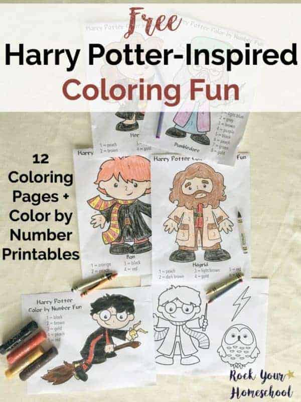 Have Harry Potter-Inspired coloring fun with your kids with these free printable pages.
