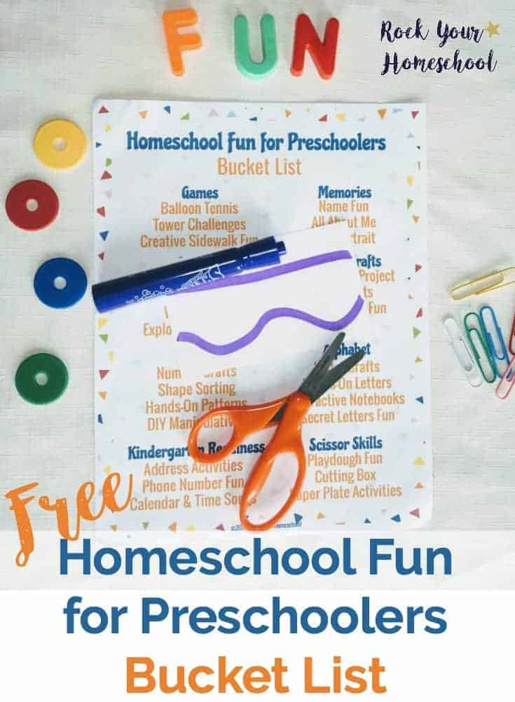 Get ideas & inspiration for Homeschool Fun for Preschoolers with this free printable bucket list. Wonderful ways to help you make learning fun happen with your little learners.