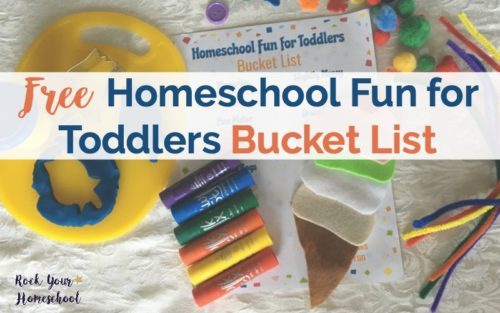 Be prepared for homeschool fun with toddlers with this free printable bucket list. Includes a list with suggestions & a blank version that you can customize.