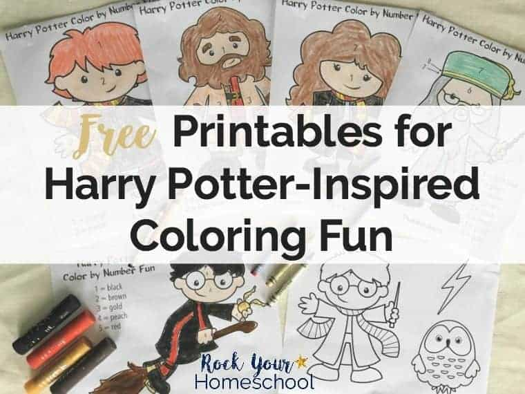 Get your free Harry Potter-Inspired Coloring Fun for kids printable pack. Includes coloring pages & color by number fun!