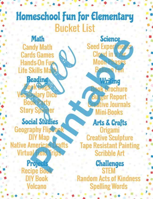 Get your free printable Homeschool Fun for Elementary Bucket List!