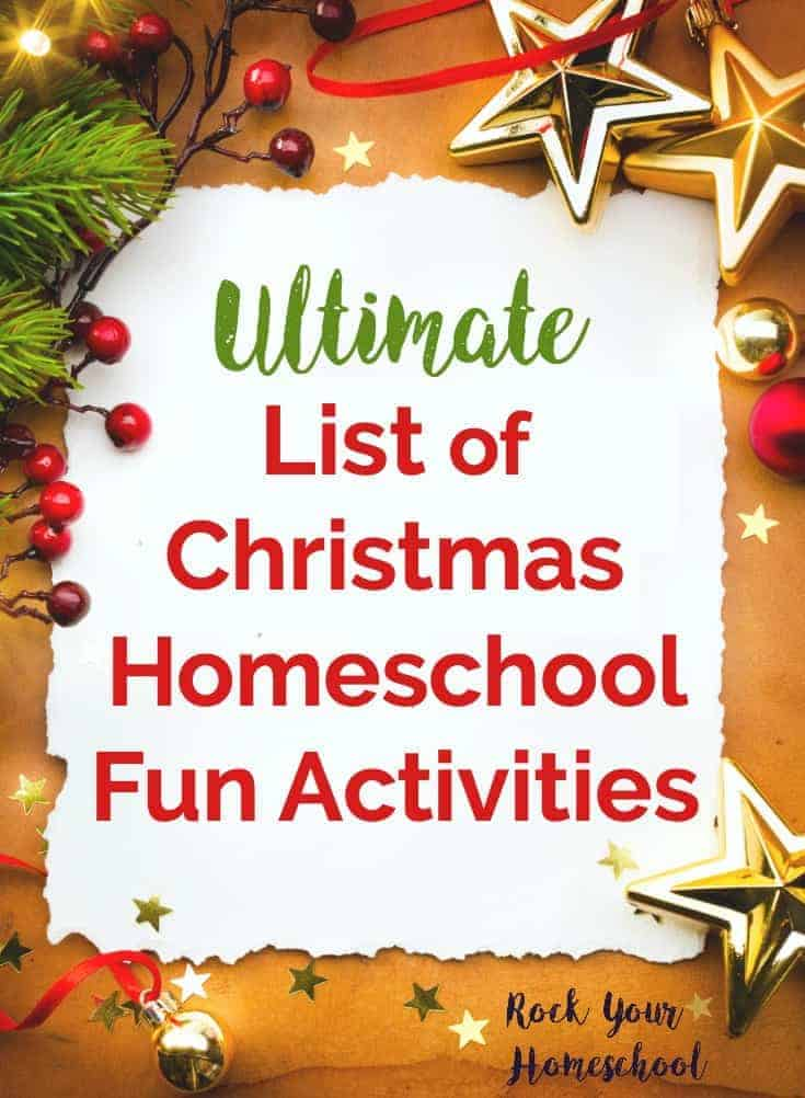 Create special memories with your kids in your homeschool this Christmas! Find ideas & inspiration for ways to celebrate the holidays in homeschool math, writing, science, & more. Suggestions were carefully selected to be as mess-free & stress-free as possible so you can enjoy Christmas homeschool fun activities with your kids.