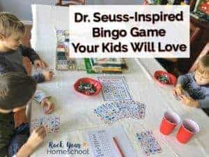 Have Dr. Seuss fun with kids! This Dr. Seuss-Inspired bingo game with favorite characters is awesome for family & homeschool fun plus parties & classrooms.