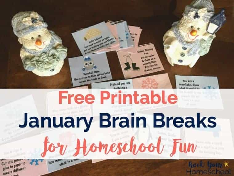 Add some fun to your homeschool! These free printable cards for January Brain Breaks are fantastic ways to motivate, energize, & connect.
