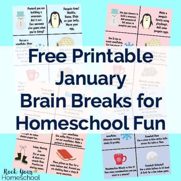 photograph relating to Break Cards for Students Printable identified as January Thoughts Breaks for Homeschool Enjoyable - Rock Your Homeschool