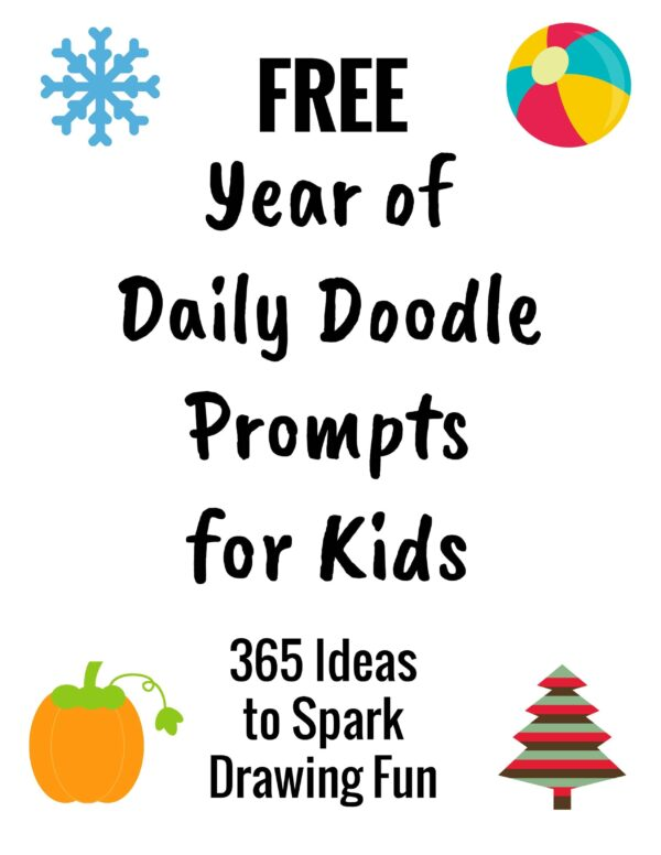 Get your Free Year of Daily Doodle Prompts for Kids for easy-to-do drawing activities for your homeschool & family.