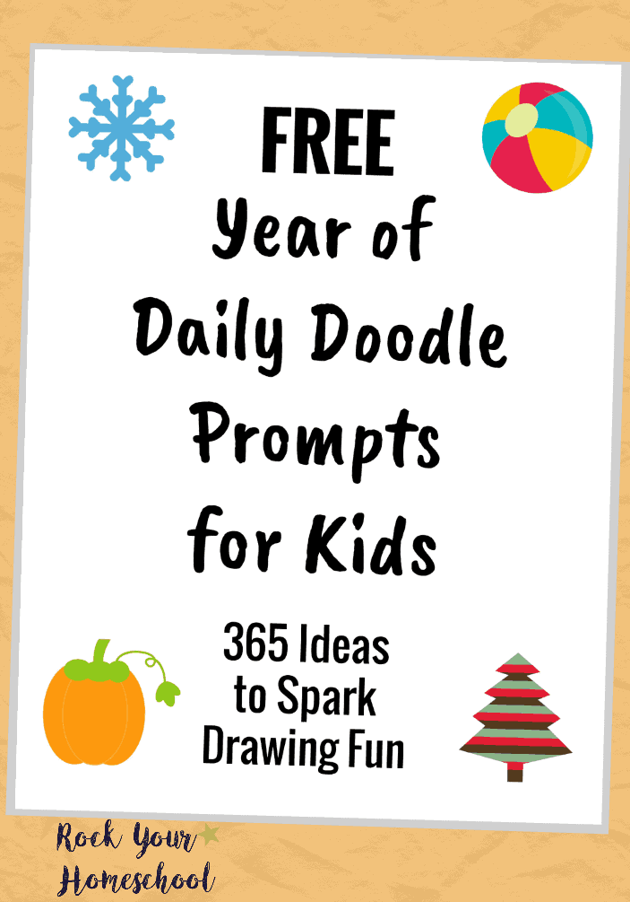 Help your kids build creative thinking skills, imagination, self-expression & more with this printable pack of Free Year of Daily Doodle Prompts for Kids! Great for homeschool & family fun :)