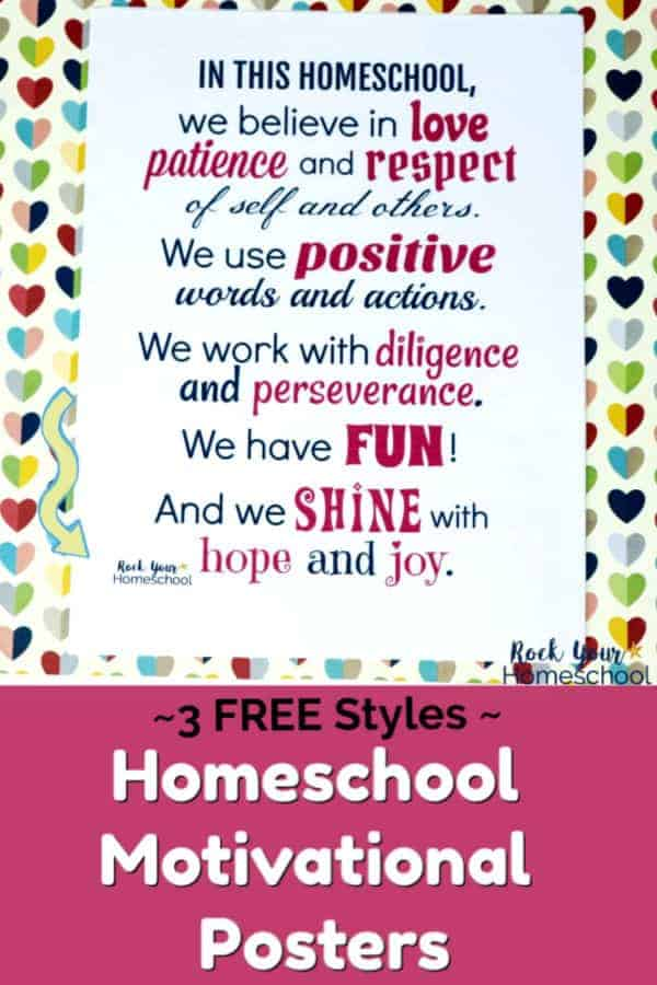 picture about Printable Motivational Posters referred to as Totally free Printable Homeschool Poster in direction of Persuade Inspire
