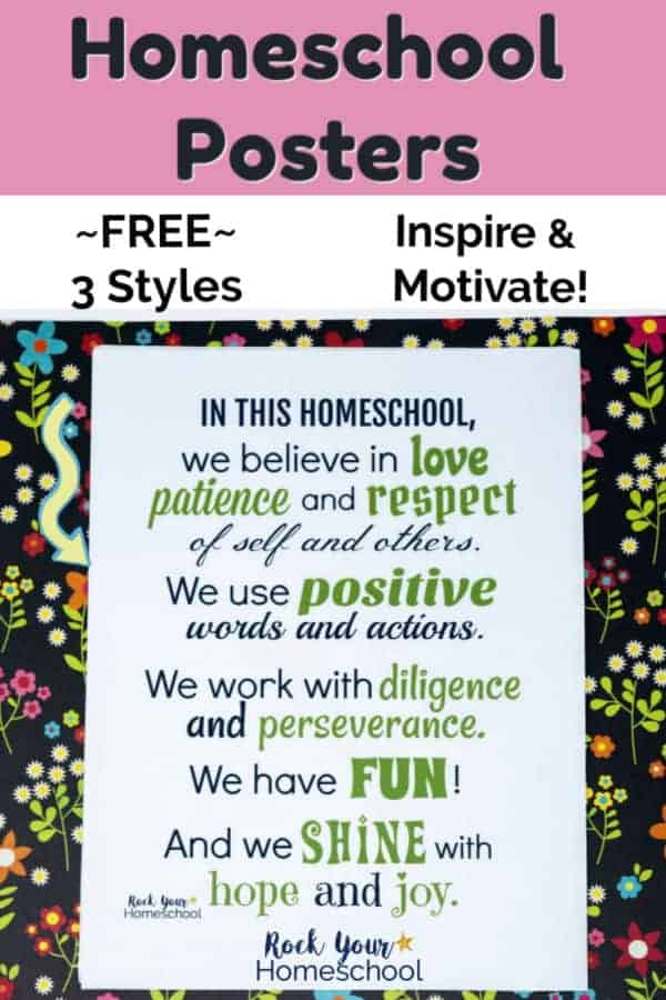 Homeschool poster filled with inspiration & encouragement in navy & green fonts on black floral paper