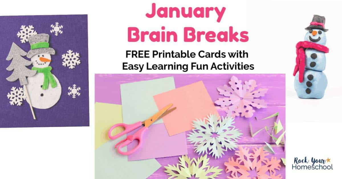 Experience the joys & benefits of brain breaks! These free printable cards of January Brain Breaks are awesome ways to add easy homeschool activities to your day.