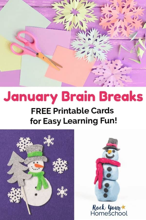 Pastel snowflakes with pink scissors on pastel papers and snowman with silver hat & green scarf & silver tree & white snowflakes on purple felt and clay snowman with red scarf