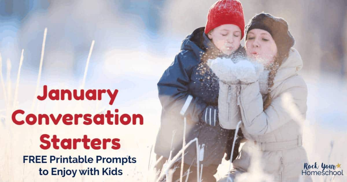 Enjoy easy & fun chats with your kids using these January Conversation Starters. Free printable prompts include seasonal & fun holiday themes to spark conversation. Awesome for writing prompts, too!