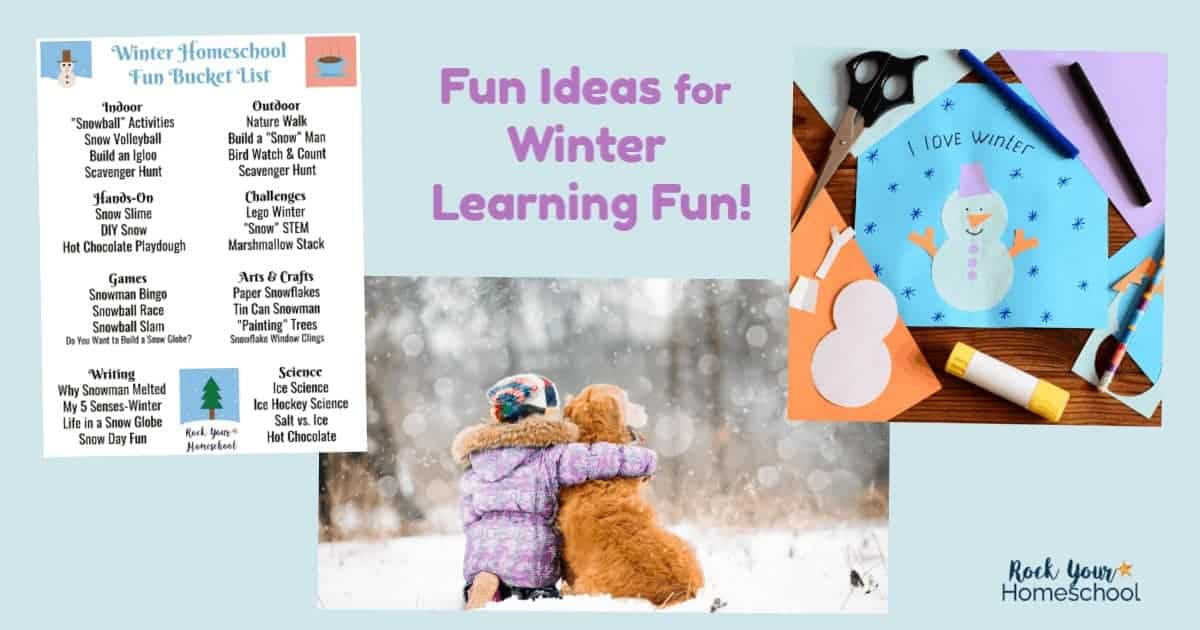 This free printable winter bucket list for homeschool fun is a great way to plan & prepare for learning fun with your kids this season.