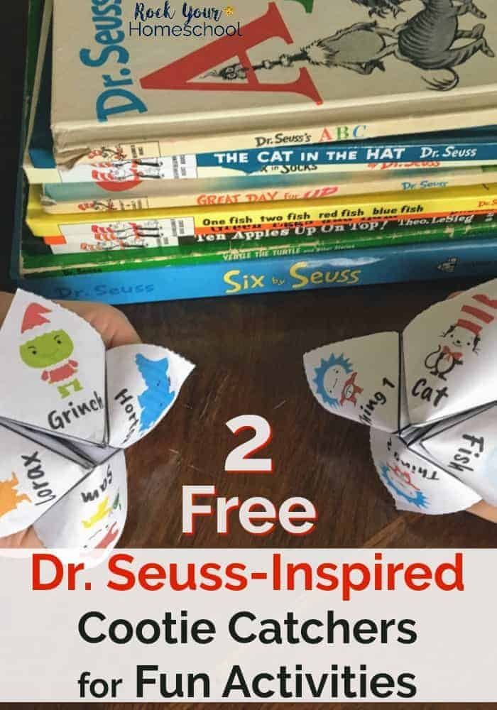 Here are two free Dr. Seuss-Inspired Cootie Catchers for Fun Activities! Great ways to have fun with your kids as you connect & get moving.