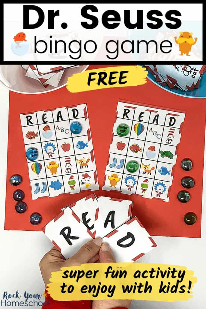 Woman holding R-E-A-D calling cards for free Dr. Seuss Bingo Game for fantastic fun with kids