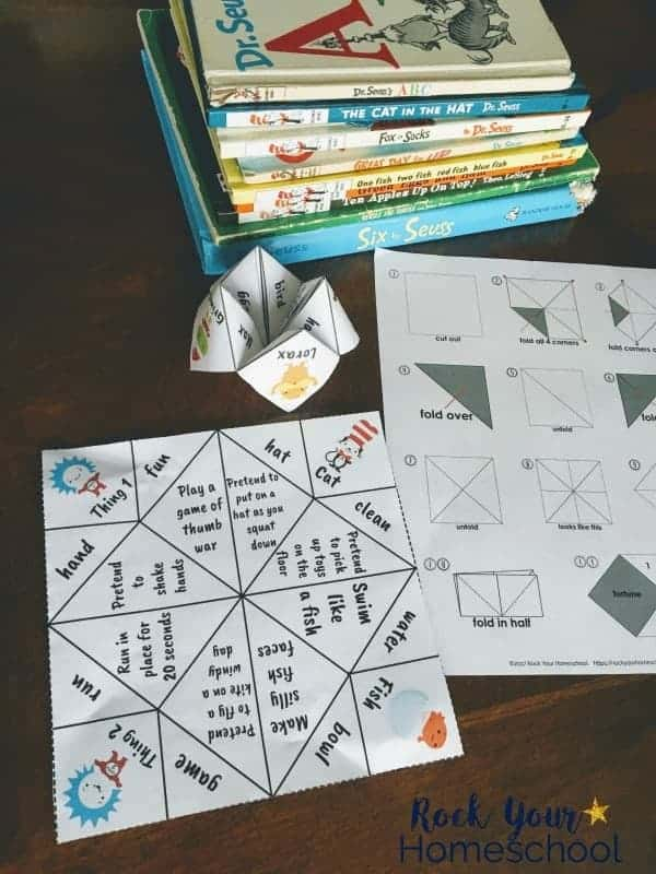 Dr Seuss Inspired Cootie Catchers on action words for kids
