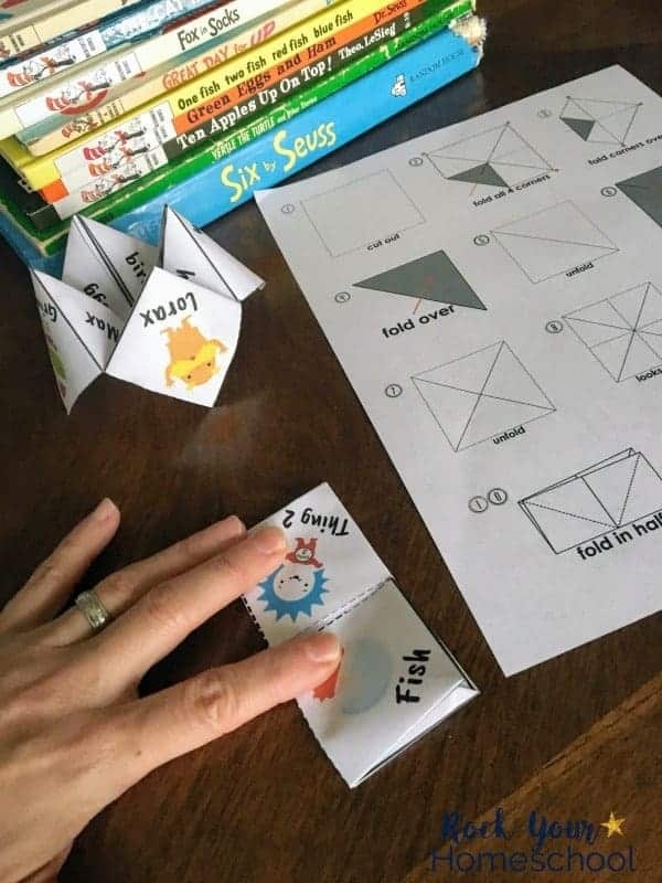 Enjoy these Dr. Seuss-Inspired cootie catchers in classrooms, parties, families, & homeschools.