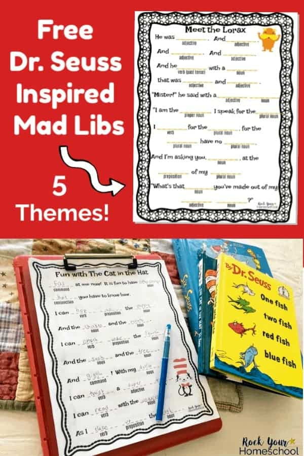 Dr. Seuss-Inspired Mad Lib on red background and Dr. Seuss-Inspired Mad Lib featuring The Cat in the Hat on red clipboard with Dr. Seuss books on quilt