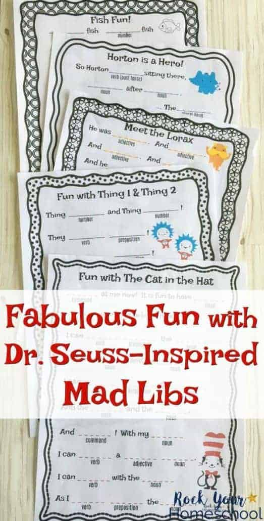 Have some awesome learning fun with kids & these free Dr. Seuss-Inspired Mad Libs! Great ways to build listening & communication skills while you work on parts of speech. Fantastic for family, classroom, party, & homeschool fun!