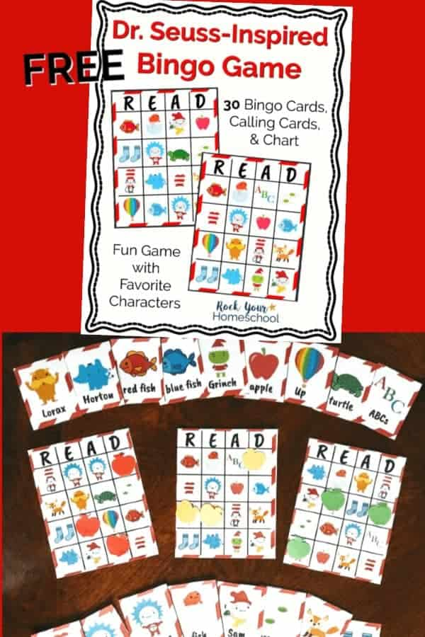 cover of Dr. Seuss-Inspired Bingo Game printable pack on red background and Dr. Seuss-Inspired bingo game cards on dark wood desk