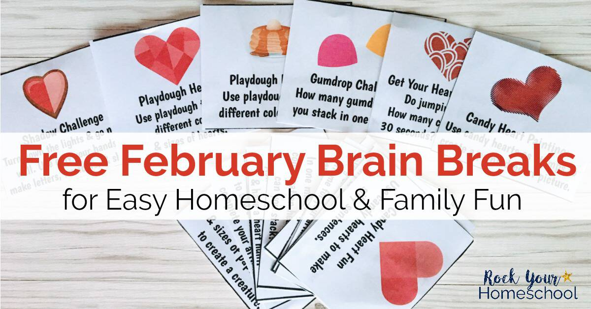 picture about Break Cards for Students Printable named Totally free February Head Breaks for Very simple Homeschool Enjoyment - Rock