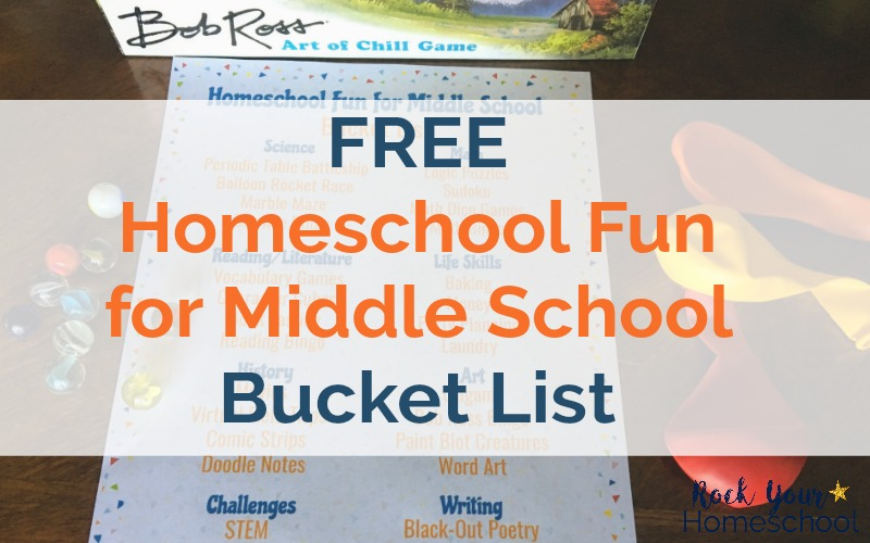 Enjoy learning fun with your middle schooler with this free printable Homeschool Fun for Middle School Bucket List. It will help you plan & prepare for fun with your tween & teen.