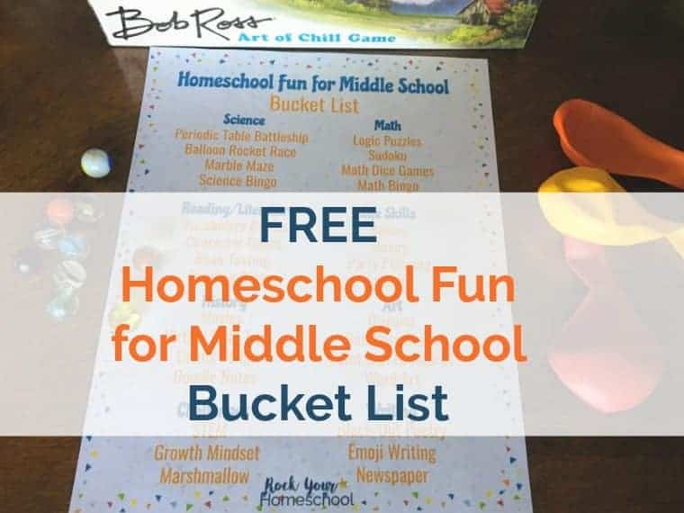 Prepare & plan for awesome learning fun with your middle schooler with this free Homeschool Fun for Middle School Bucket List.