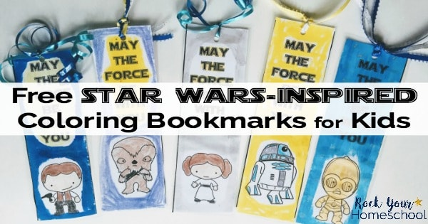 Have stellar reading fun with these free printable Star Wars-Inspired Coloring Bookmarks.