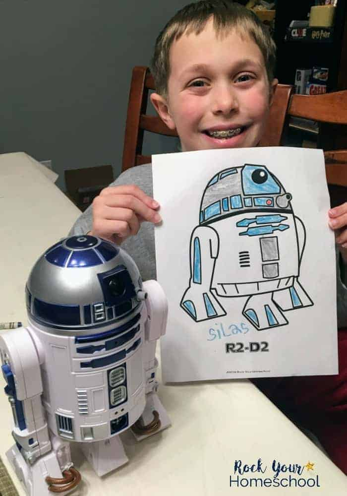 Boy with R2-D2 and Star Wars coloring page