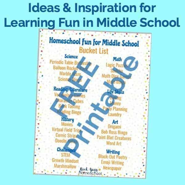 Get ideas & inspiration for learning fun in homeschool middle school with this free printable Homeschool Fun for Middle School Bucket List.