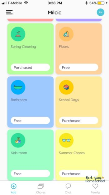 This kids chore app includes chore packs to help you easily get started with motivating & teaching your kids their responsibilities & jobs.