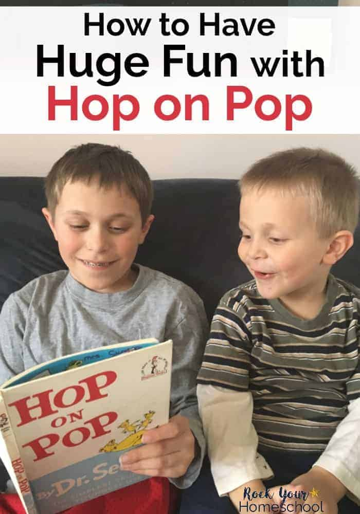 Two boys reading Hop on Pop by Dr. Seuss to feature amazing ways to extend the learning fun with this popular book