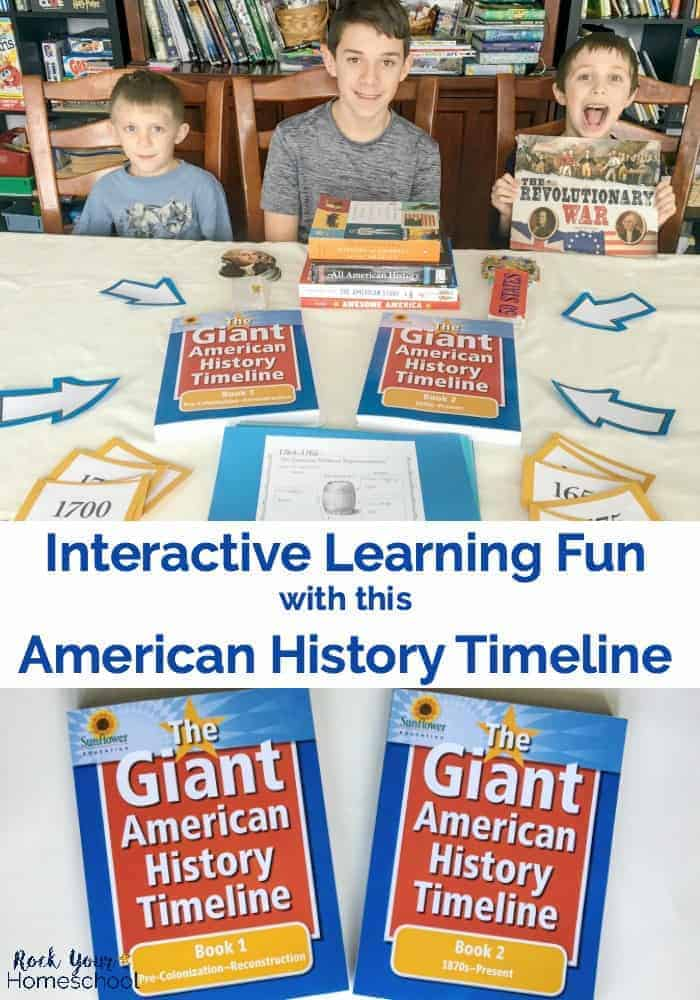 Boys with history books and American History Timeline