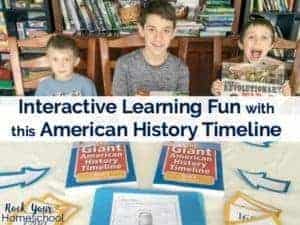 You can add interactive learning fun to your homeschool with this American history timeline. Find out how our large family homeschool is using The Giant American History Timeline books to encourage collaborative activities and more!