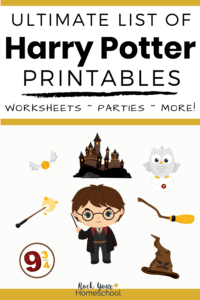 Cute Harry Potter figure with Golden Snitch, magic wand, Platform 9 3/4 sign, Hogwarts Castle, Hedwig the owl with letter, broomstick & sorting hat to feature this list of Harry Potter printables