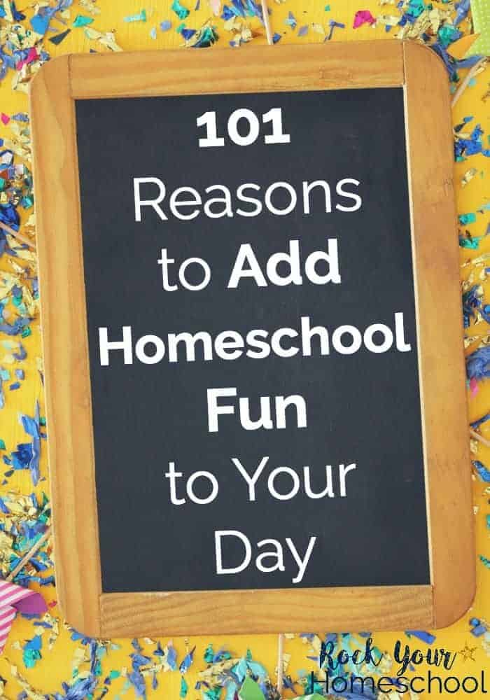 White lettering about homeschool fun on chalkboard with confetti background