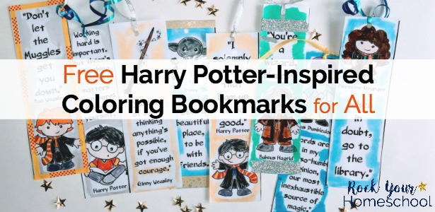 Enjoy these free Harry Potter-Inspired coloring bookmarks for a touch of magic for your reading fun.