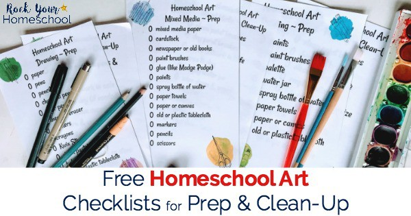 You can make homeschool art easy with these free printable homeschool art classes checklists for prep & clean-up.