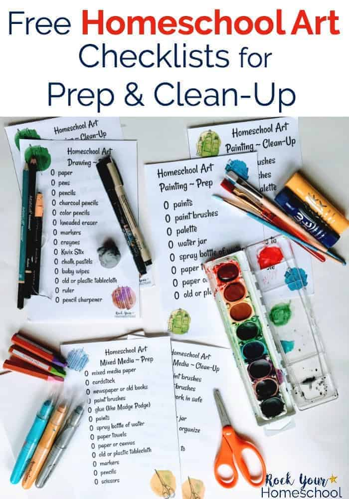 Art supplies with checklists for clean-up & prep