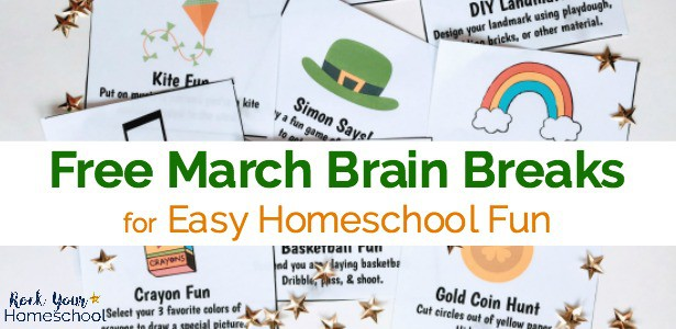 Easily add homeschool fun to your day with these free printable March Brain Breaks cards.