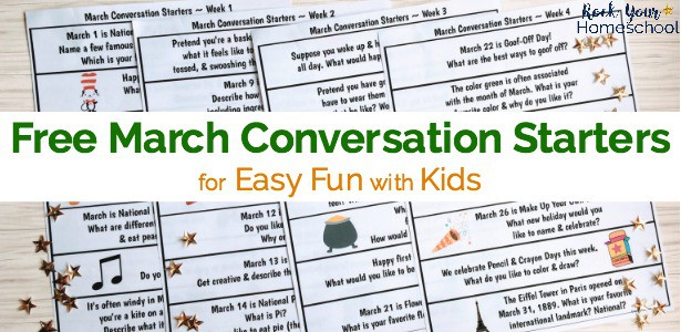 Have a blast chatting with your kids using these free printable March conversation starters.