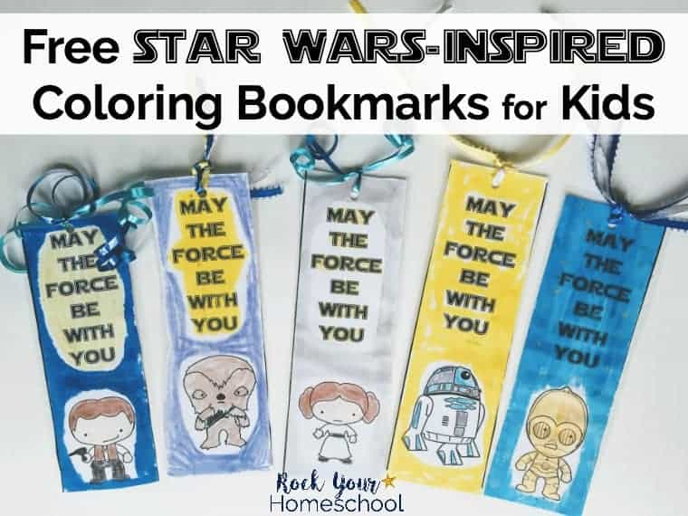 Have some stellar fun with these Free Star Wars-Inspired Coloring Bookmarks for kids! Great for parties, classroom, family, & homeschool fun. 8 featured characters to encourage & inspire young readers.