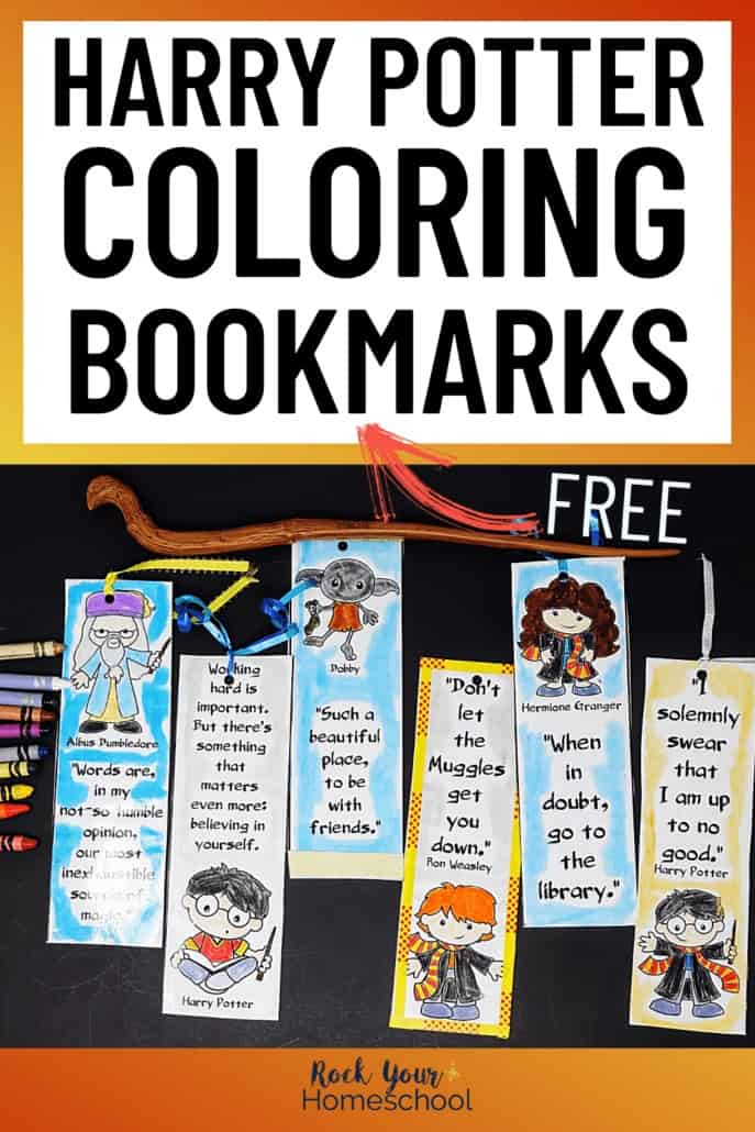 Harry Potter coloring bookmarks with crayons & wand to feature the magical creative fun you can have with these free Harry Potter printables