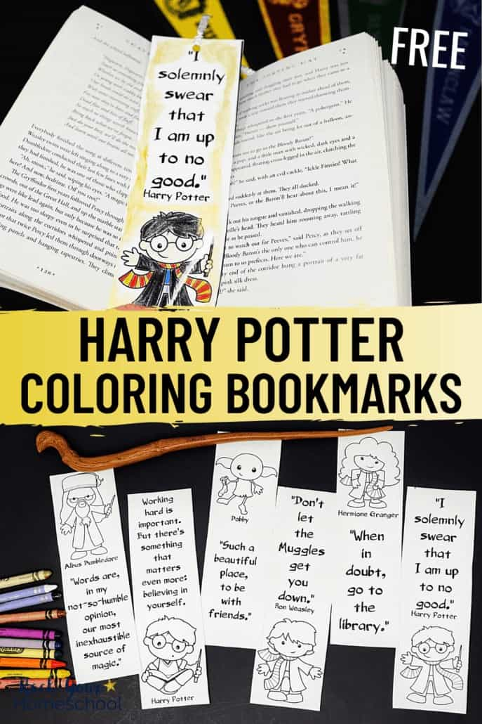 Harry Potter coloring bookmark with Harry Potter book & pencils & Harry Potter coloring bookmarks with crayons & wand to feature the magical learning fun you can have with these free Harry Potter printables