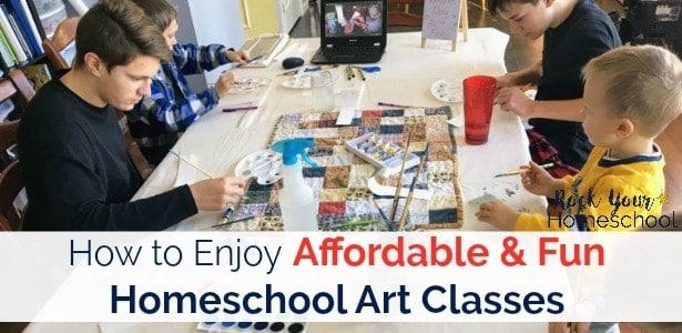 Enjoy fun & affordable homeschool art classes with your kids using Masterpiece Society Studio membership.